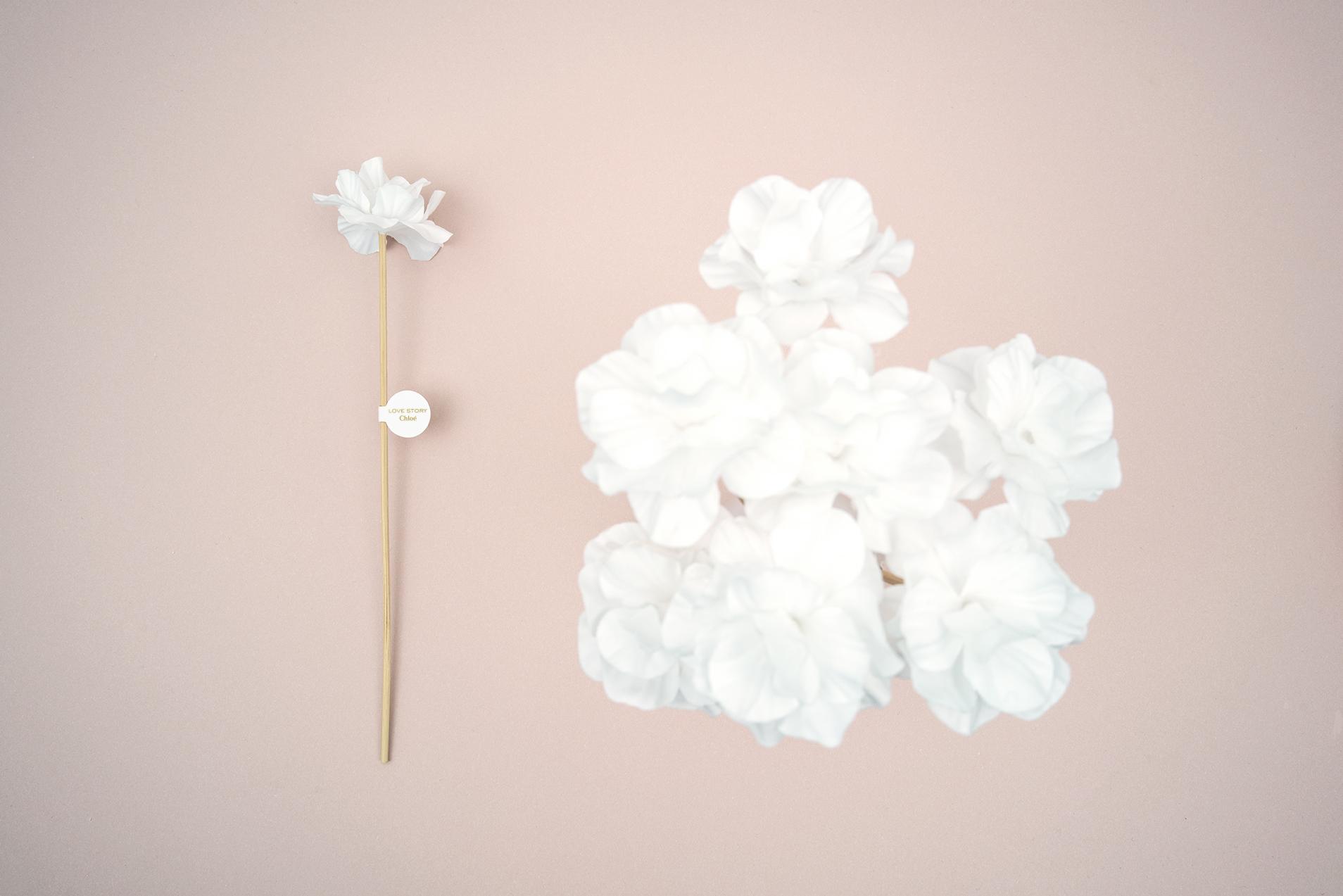 Les Petites Mouillettes : Fleur coton avec tige rotin pour Love Story de Chloé