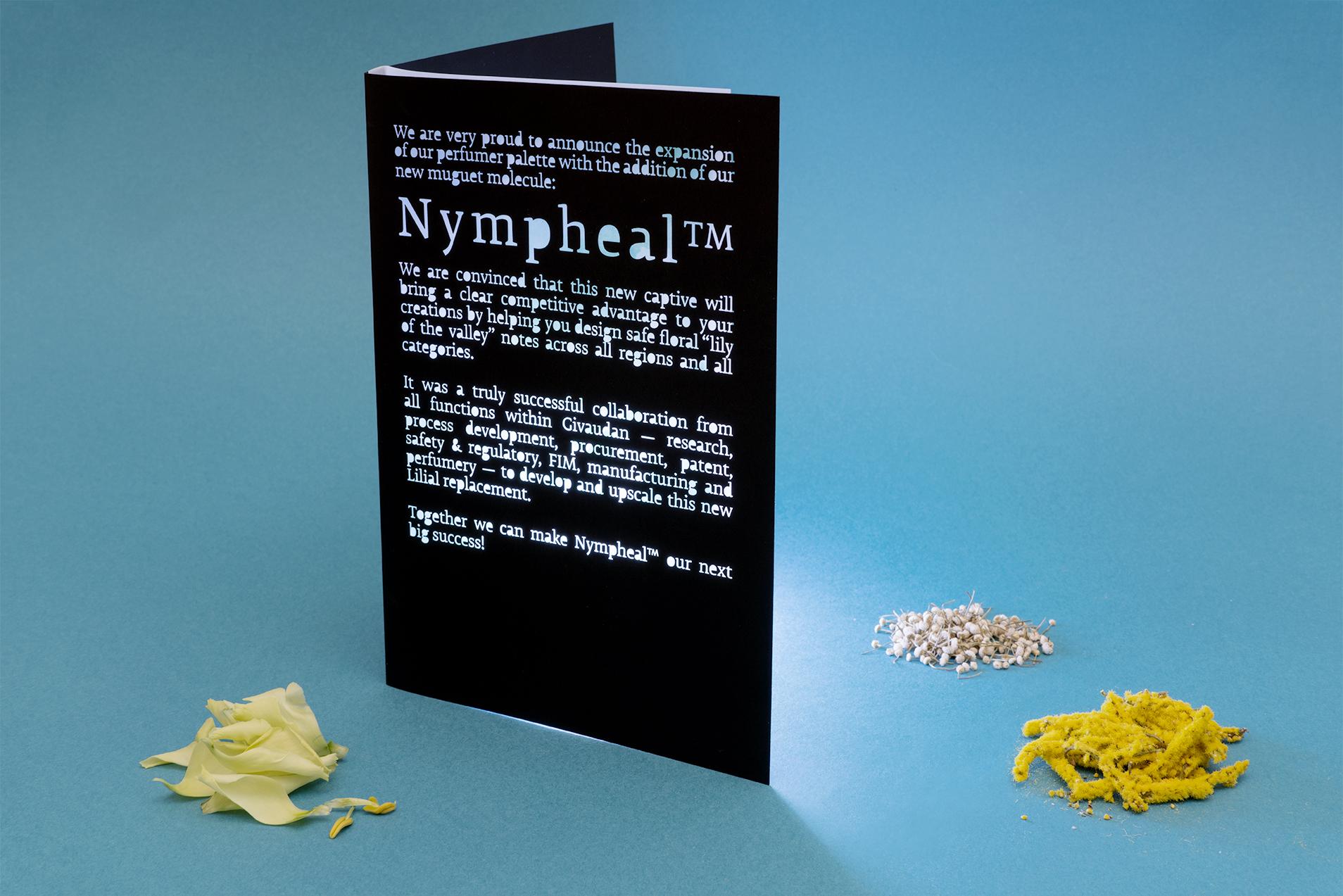Carte Givaudan pour la sortie de Nympheal, nouvelle matière première