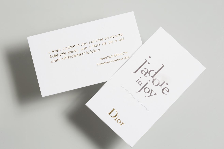 Photo recto verso de la touche à sentir J'adore in Joy pour Dior