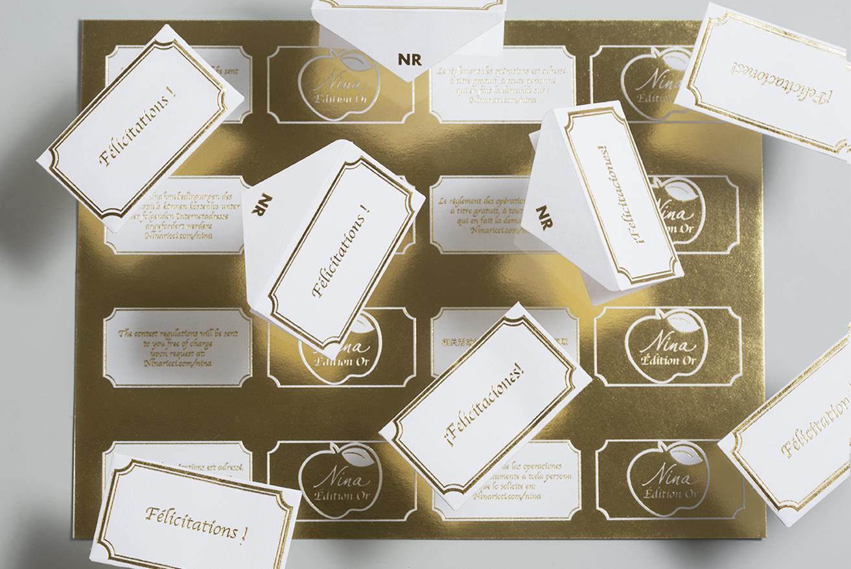 Enveloppes et Tickets en dessous, pour Nina Ricci Edition OR